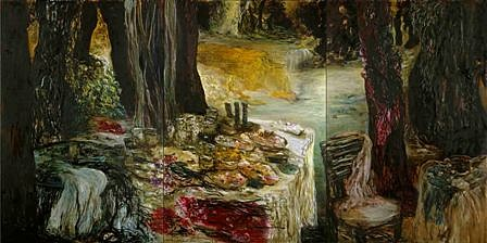 """<p><span class=""""viewer-caption-artist"""">Ziad Dalloul</span></p> <p><span class=""""viewer-caption-title""""><i>Celebration of The Absents I</i></span>, <span class=""""viewer-caption-year"""">2010</span></p> <p><span class=""""viewer-caption-media"""">Oil on canvas</span></p> <p><span class=""""viewer-caption-dimensions"""">195 x 390 cm (76 3/4 x 153 1/2 in.)</span></p> <p><span class=""""viewer-caption-inventory"""">ZID0000</span></p> <p><span class=""""viewer-caption-aux""""></span></p>"""