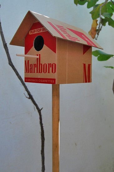 Ibrahim Abumsmar, The BirdHouse 2012, Cardboard & Wood