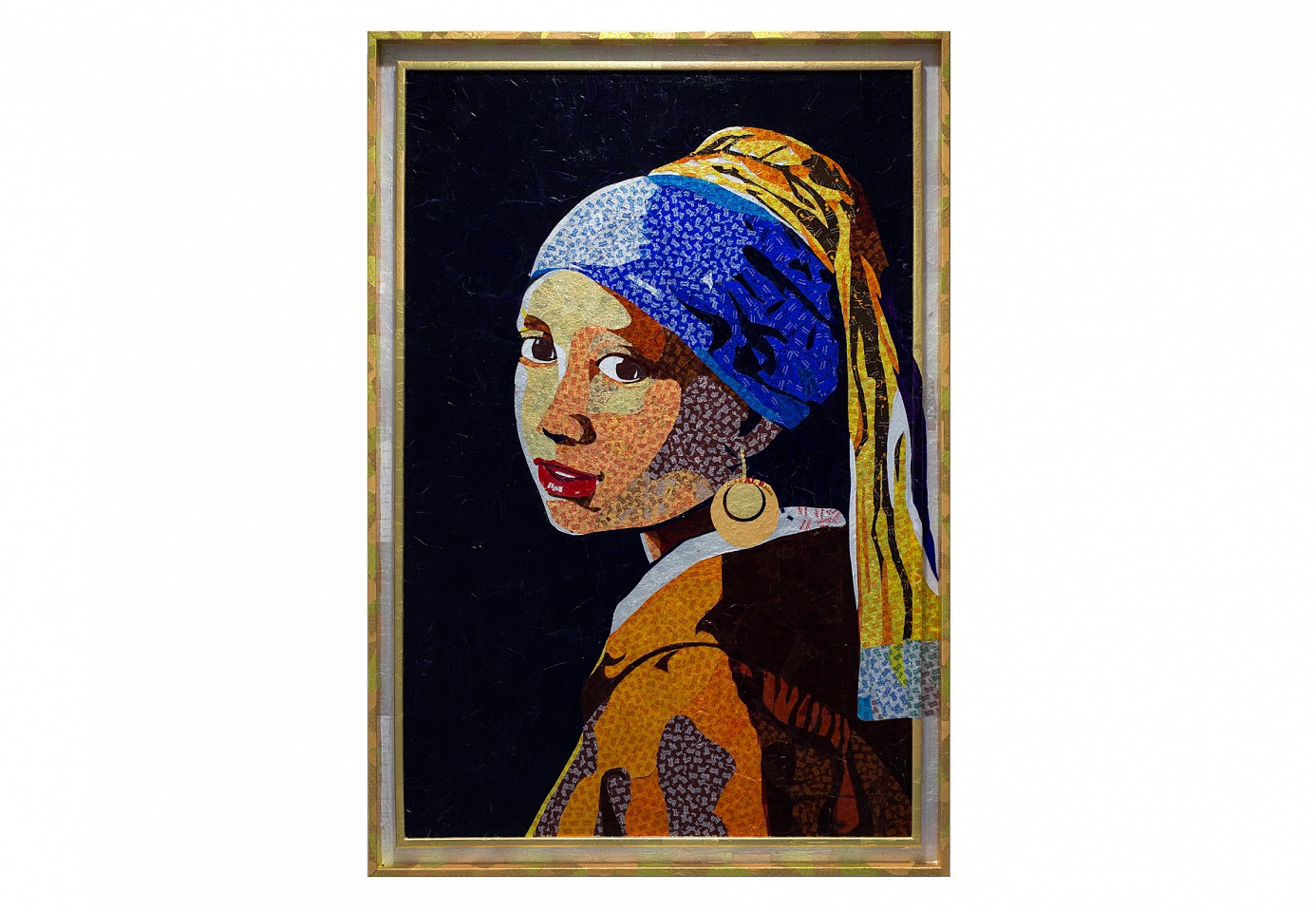 "<p><span class=""viewer-caption-artist"">Ghada Al Rabea</span></p> <p><span class=""viewer-caption-title""><i>Girl With The Gold Earring</i></span>, <span class=""viewer-caption-year"">2014</span></p> <p><span class=""viewer-caption-media"">Candy wrappers on wood</span></p> <p><span class=""viewer-caption-dimensions"">132.7 x 91.5 x 4 cm (52 3/16 x 36 x 1 9/16 in.)</span></p> <p><span class=""viewer-caption-inventory"">GAD0018</span></p> <p><span class=""viewer-caption-aux""></span></p>"