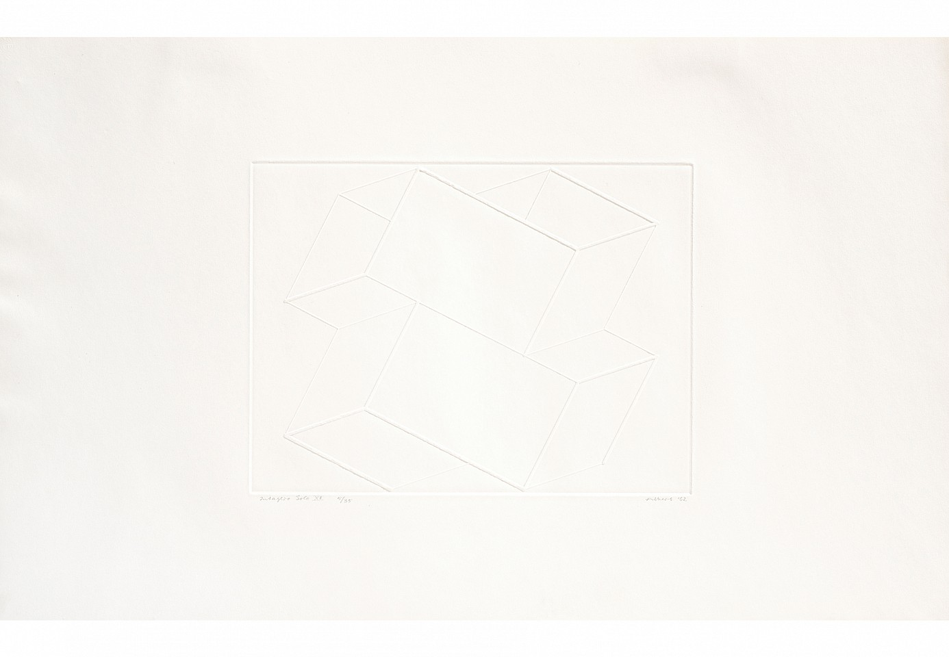 "<p><span class=""viewer-caption-artist"">Josef Albers</span></p> <p><span class=""viewer-caption-title""><i>Intaglio Solo XII</i></span>, <span class=""viewer-caption-year"">1962</span></p> <p><span class=""viewer-caption-media"">Inkless intaglio from brass plate on Arches deckle edge paper</span></p> <p><span class=""viewer-caption-dimensions"">35.6 x 56.2 cm (14 x 22 1/8 in.)</span></p> <p><span class=""viewer-caption-inventory"">JOA0000</span></p> <p><span class=""viewer-caption-aux""></span></p>"