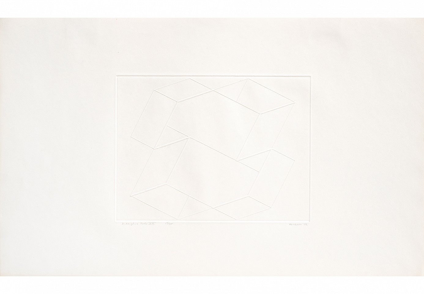 "<p><span class=""viewer-caption-artist"">Josef Albers</span></p> <p><span class=""viewer-caption-title""><i>Intaglio Solo XIII</i></span>, <span class=""viewer-caption-year"">1962</span></p> <p><span class=""viewer-caption-media"">Inkless intaglio from brass plate on Arches deckle edge paper</span></p> <p><span class=""viewer-caption-dimensions"">35.6 x 56.2 cm (14 x 22 1/8 in.)</span></p> <p><span class=""viewer-caption-inventory"">JOA0001</span></p> <p><span class=""viewer-caption-aux""></span></p>"