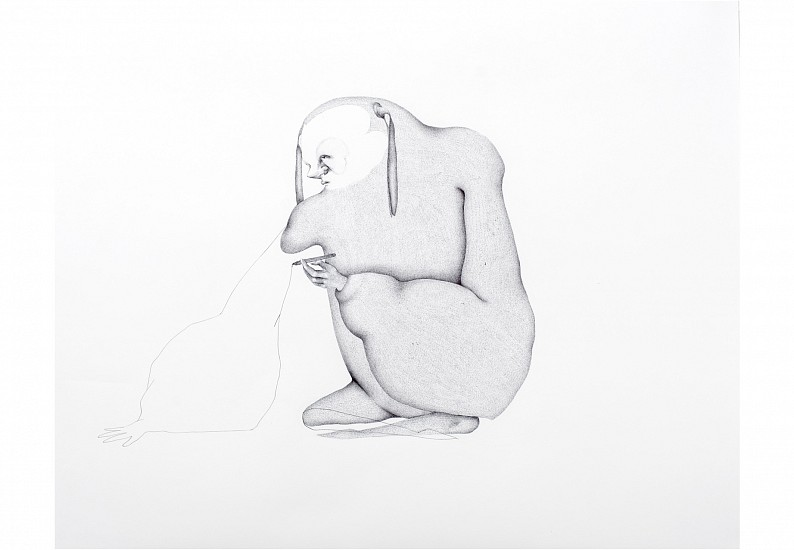 Sara Abdu, A Sleepless Savior Within A Dream Part I 2014, Dry Ink on Paper