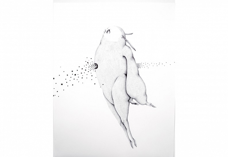 Sara Abdu, A Moment to witness the creation of my way out 2014, Dry Ink on Paper