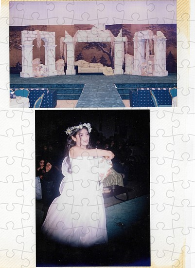 Sarah Abu Abdallah, Aunt Sukaina at a Wedding from the series Sanabises 2017, Puzzle pieces (2mm cardboard and with a glossy coated image surface)