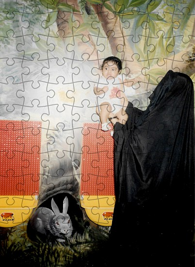 Sarah Abu Abdallah, The Artist Being Held By Her Mother from the series Sanabises 2017, Puzzle pieces (2mm cardboard and with a glossy coated image surface)