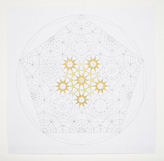 Dana Awartani, Dodecahedron Within a Icosahedron from The Platonic Solid Duals Series 2016, Shell gold and gouache on paper