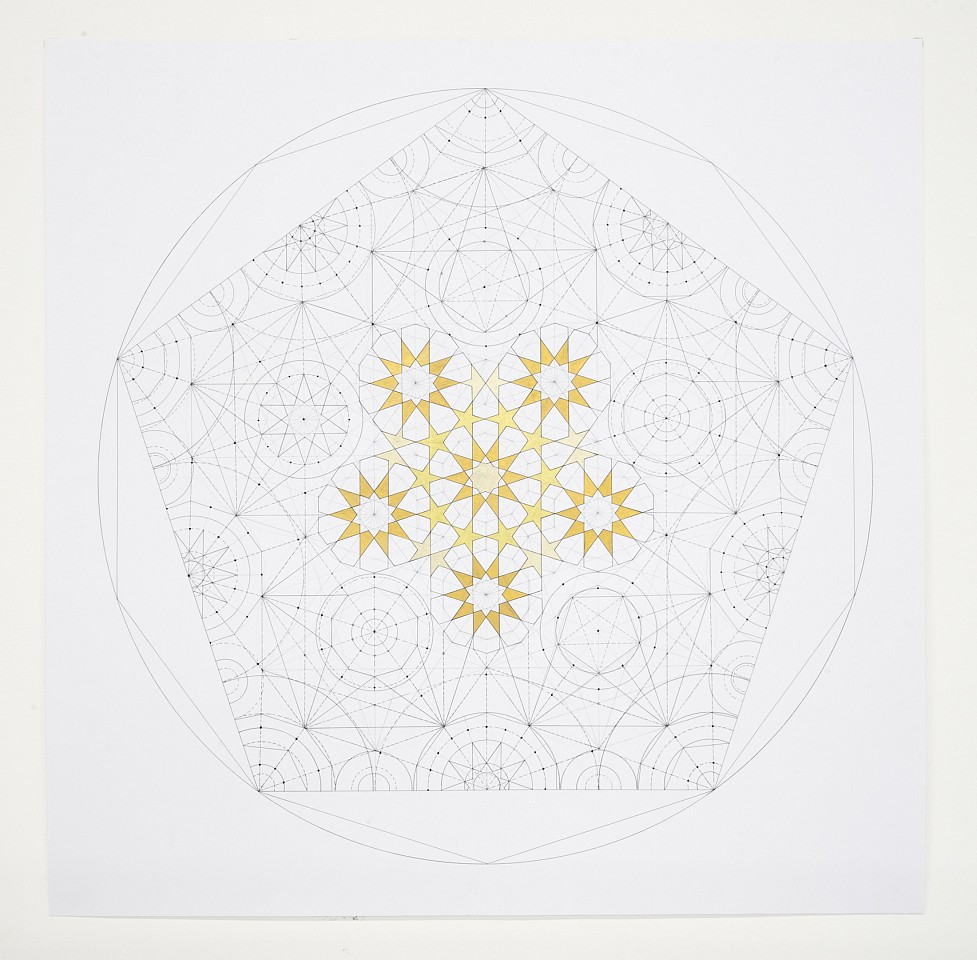 """<p><span class=""""viewer-caption-artist"""">Dana Awartani</span></p> <p><span class=""""viewer-caption-title""""><i>Dodecahedron Within a Icosahedron from The Platonic Solid Duals Series</i></span>, <span class=""""viewer-caption-year"""">2016</span></p> <p><span class=""""viewer-caption-media"""">Shell gold and gouache on paper</span></p> <p><span class=""""viewer-caption-dimensions"""">54 x 54 cm</span></p> <p><span class=""""viewer-caption-aux""""></span></p>"""
