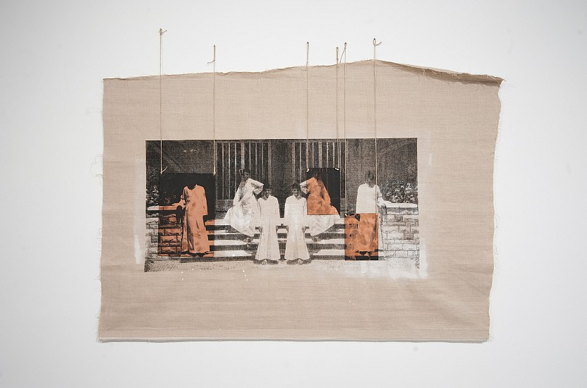 Manal Al Dowayan, The Boys 2015, Paint and silkscreen ink on canvas and copper